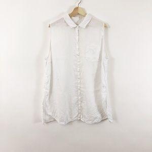 J Jill Love Linen White Collar Button Down Shirt